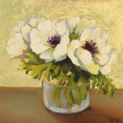Anemones, 6x6 oil gold leaf by Bridget Bossart van Otterloo