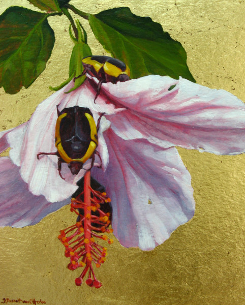 Feast (Beetles on Hibiscus) with gold leaf