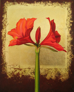 Red Amaryllis on Gold - click to see more recent paintings